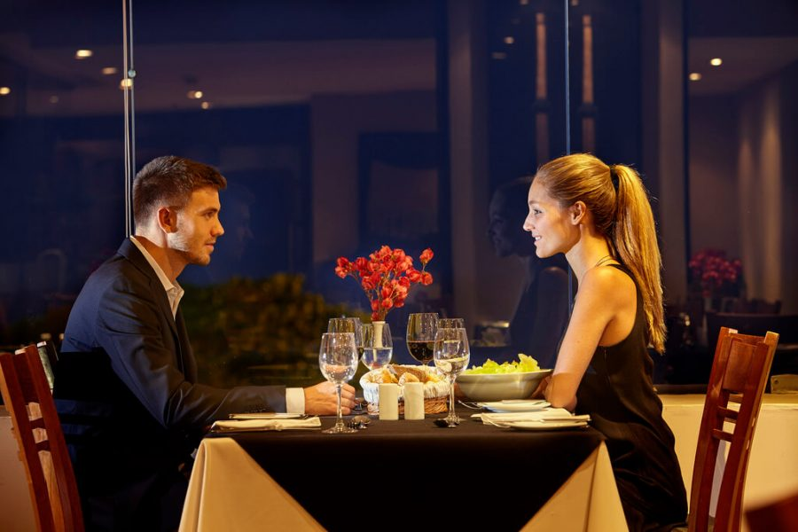 Confident woman on date