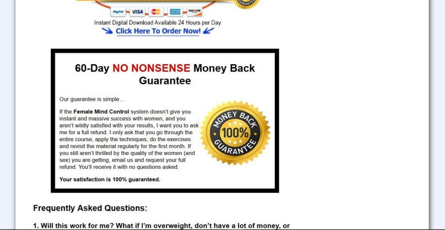 Get your money back if it doesn't work for you