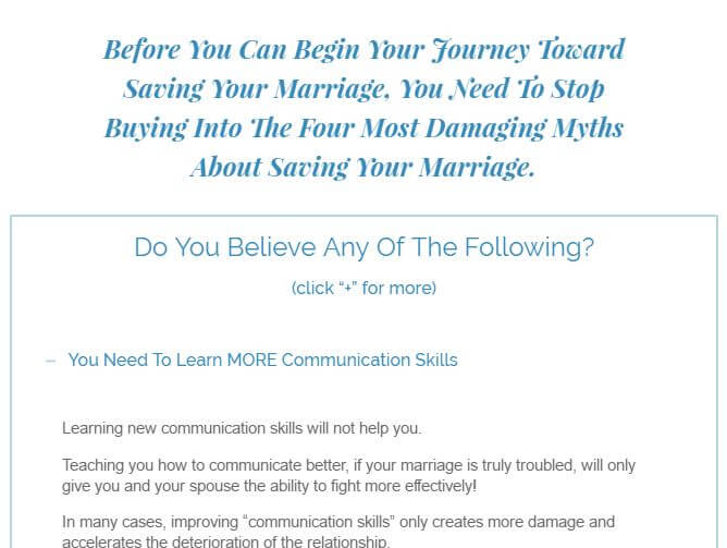 Website of Save the Marriage System