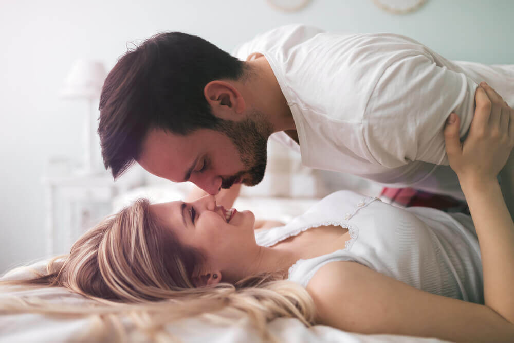 Sensual romantic foreplay by couple