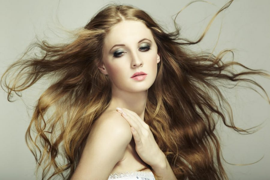 beautiful woman with long flowing hair
