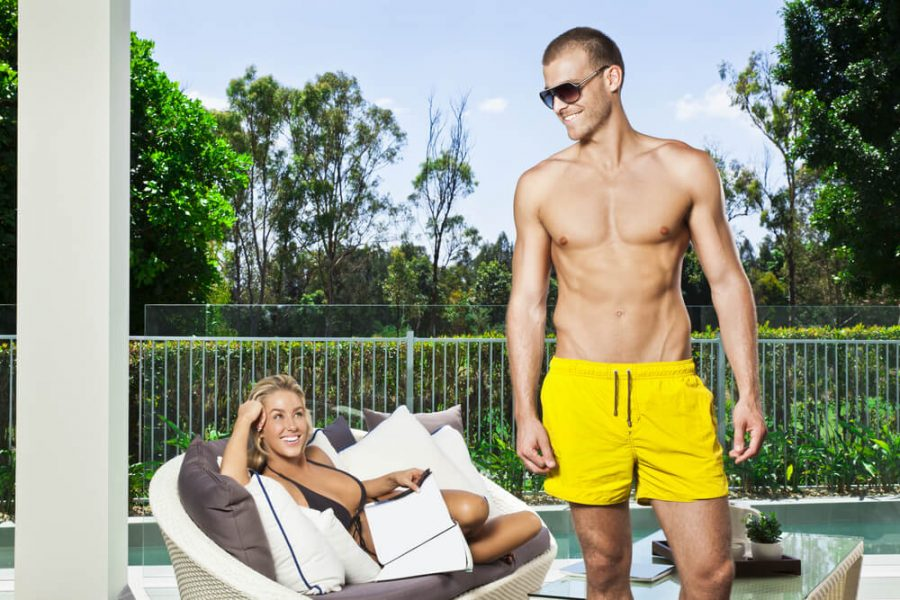 couple in backyard patio