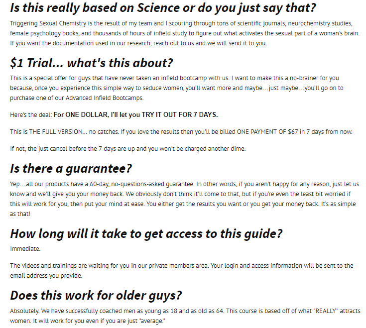 FAQ screenshot from the product website