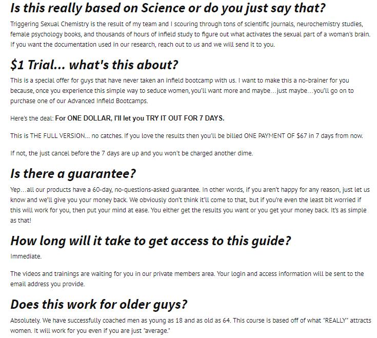 FAQ screenshot from the product website